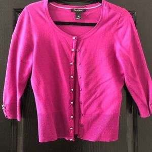 Pink 3/4 Sleeve Cardigan with Snaps